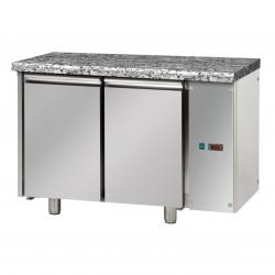 Table réfrigérée pâtissière - Sans groupe - Dessus granit - 2 portes - Eva - TPB20GEG
