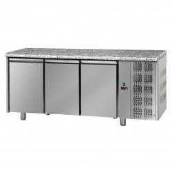 Table réfrigérée pâtissière - Groupe logé - Dessus granit - 3 portes - Eva - TPB30GLG