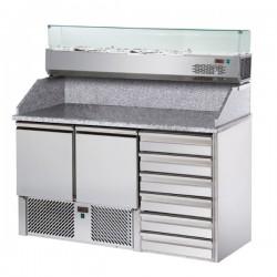 Table de préparation pizza avec vitrinette - 2 portes et 6 tiroirs - Eva - BSEV141V