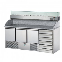 Table de préparation pizza avec vitrinette - 3 portes et 6 tiroirs - Eva - BSEV190V