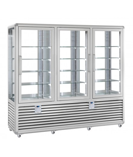 Vitrine réfrigérée positive ventilée - 4 faces vitrées - 3 portes - 1388 L - HUSKY - HPS130V/2