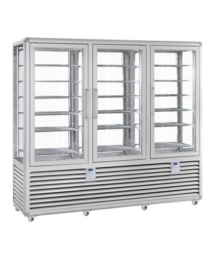 Vitrine réfrigérée négative statique - 4 faces vitrées - 3 portes - 1388 L - HUSKY - HGL130S/2