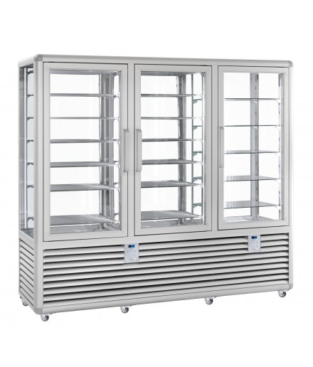 Vitrine réfrigérée négative statique et positive ventilée - 4 faces vitrées - 3 portes - 1388 L - HUSKY - HPG13SSV/2